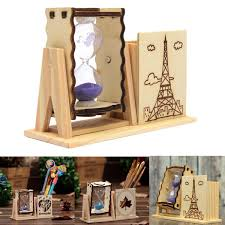 very impressive portraiture of design wood sand glass hourglass timer clock and pen brush holder with