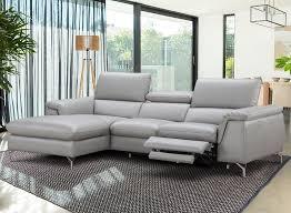 Italian Leather Recliner Sofa Light Grey Italian Leather Serena Sectional Sofa Wall Hugger