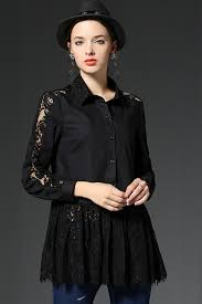 black button up blouse kettymore collar neck lace decorated pleated blouse black