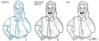 editorial cartoon sketch to finish cartoon ink