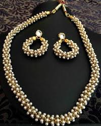 pearls necklace sets images Buy beautiful chandni pearls woven in golden metal indian pearl jpg