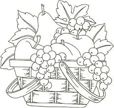 coloring extraordinary draw fruit basket flowers