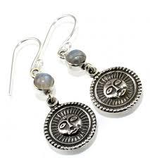 silver earring sun shape rainbow moonstone 925 sterling silver earring