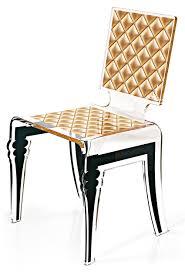 chaise dorée chaise plexiglas design baroque capitonné diam motif doré acrila
