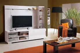 Furniture For Tv Set Contemporary White High Gloss Finish Wall Unit W Glass Shelves