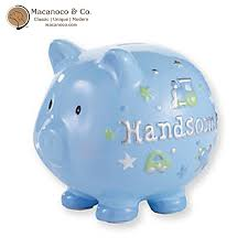 baptism piggy bank baby blue handsome piggy bank macanoco and co