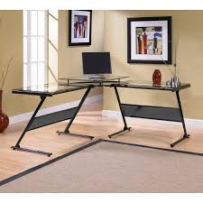 whalen newport wood and glass l desk hayneedle