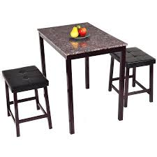 2 Chair Dining Table Costway 3 Pcs Counter Height Dining Set Faux Marble Table 2 Chairs