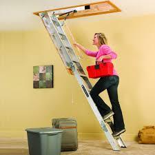 aluminum attic ladder pull down folding stair way loft 7 u00279