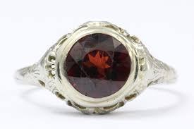 antique 18k white gold art nouveau garnet ring signed m g u2014 queen may
