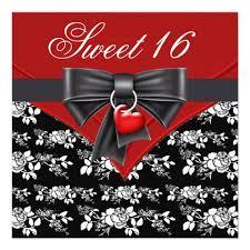 red rose red black white sweet 16 u2013 21st birthday invitations