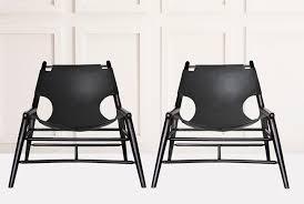 black leather sling chair anna karlin