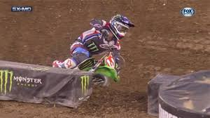 monster jersey motocross tomac goes down in supercross race new jersey 2017 and takes a