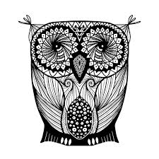 Patterned Flying Owl Drawing Illustration Black And White Owl Style Zentangle Stock Vector Illustration Of
