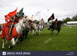 Country Flags England Medieval Knights On Galloping Horses Carrying Standards Or Flags