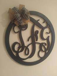 monogrammed wedding gift monogram wall decor three letter wreath wedding guest book