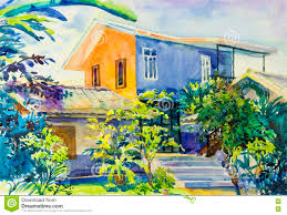 Painting Of House by Watercolor Landscape Original Painting Colorful Of House And