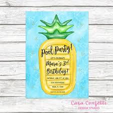 pool party invitation pineapple birthday invitation pool