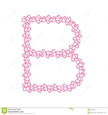 Pink Flat Color The Letter B In The Alphabet Heart Flower Petals Illustration