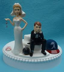and chain cake topper wedding cake topper atlanta braves baseball themed and chain