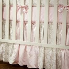 Pink And Brown Damask Crib Bedding Pink And Taupe Damask Crib Skirt Gathered Patchwork Crib Skirts