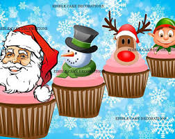 Christmas Cake Decorations Edible by Elf Cake Topper Etsy