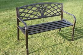 Steel Garden Bench Olive Grove Metal Garden Bench With Cast Iron Floral Pattern