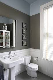 white beadboard wainscoting in bathroom with grey wall colors and