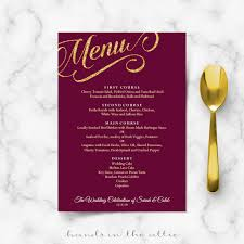 maroon and gold wedding maroon burgundy and gold wedding menu template reception menu