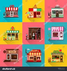 set flat shop building facades icons stock vector 395301766