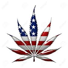 Dope American Flag Marijuana Leaf With The Colors Of American Flag Isolated On White