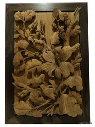 Wood Panel Wall Decor by Hand Carved Teak Wood Panel Carving Bird Flower Relief Sculpture
