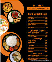 indian menu template indian menu word documents
