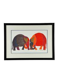 buy elephant gond art frame online gond painting paintings and