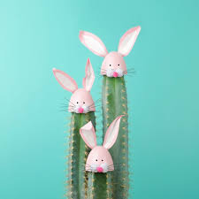 easter bunny decorations cactus with easter rabbit decorations three blue cactus with
