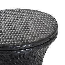 outsunny rattan patio side table and ice bucket outdoor wicker