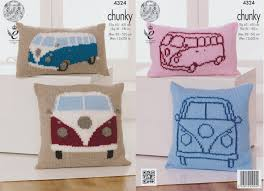 Knitted Cushion Cover Patterns King Cole Chunky Knitting Pattern Vw Camper Van Knitted Cushions
