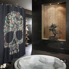 Skull Shower Curtain Hooks 150x180cm Waterproof Halloween Colorful Skull Polyester Shower