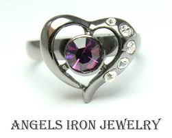 girl heart rings images Angels iron sale black gold filled heart ring purple crystal jpeg