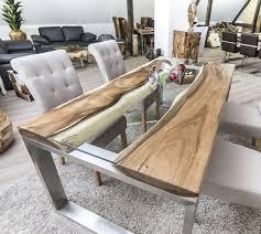 Esszimmertisch Naturkante Der Tischonkel Designertisch Massivholztisch Mit Glas Und