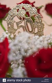 bouquet of flowers at golden wedding anniversary or 50th birthday