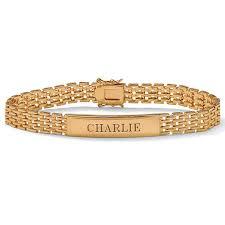 gold name bracelet men s 18k gold sterling silver personalized i d panther link