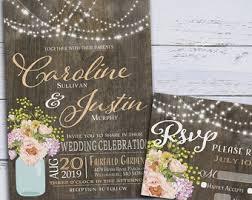 wedding invitations rustic rustic wedding invitation etsy