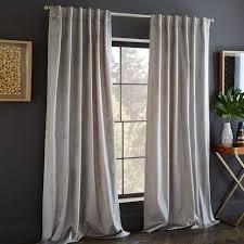 cotton luster velvet curtain platinum west elm with cotton velvet