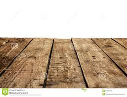 Wooden Table Old Vintage Planked Wood Table In Perspective On White Stock