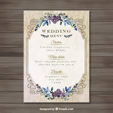 wedding menu templates vintag wedding menu template vector free