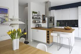 awesome contemporary kitchen design interior with small wood wine