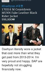 Bap Memes - daehyun ch 170316 m countdown munn fake leather black rider jacket
