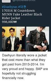 Bap Memes - daehyun ch 170316 m countdown munn fake leather black rider
