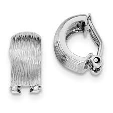 pierced earrings silver rhodium plated d c omega back non pierced earrings weight
